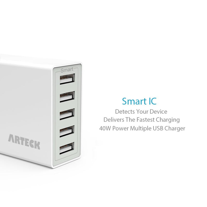 Australia Arteck 40W 5-Port 8A High Speed Multiple USB Charger with Smart Technology for iPhone Xs Max, Xs, Xr, X, 8, 8 Plus, 7s, 7, 6, iPad, Samsung and Other Smartphone, Tablet