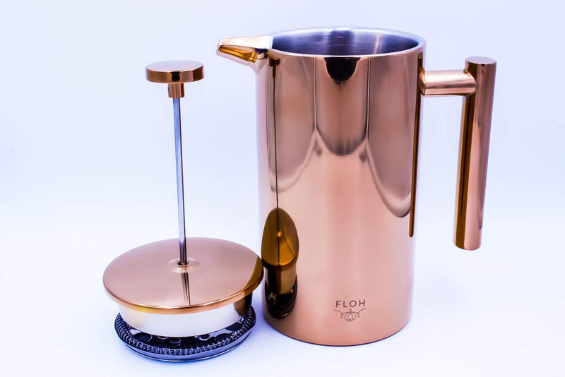 Australia FLOH French Press for Coffee & Tea in Rose Gold Copper - Large 4 Cup Insulated Stainless Steel Coffee Maker