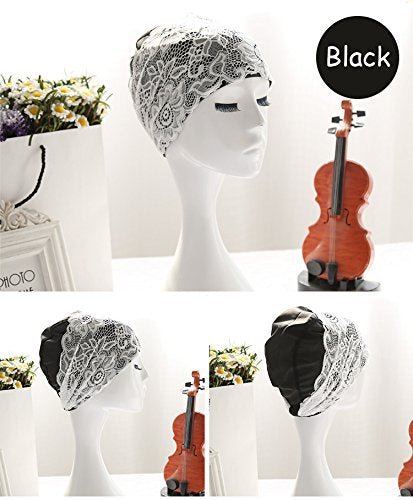 HONBAY Fashion PU Waterproof Lace Swim Cap Black Elastic Swimming Cap Swimming Hat Bathing Cap for Women and Girls