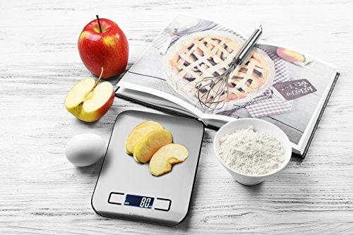 Australia MUELLER Digital Kitchen Scale, 30% Greater Accuracy Quad Transducer, Multi-Function Back-Lit LCD, Stainless Steel, 11 lbs, 5 kg (Batteries Included)
