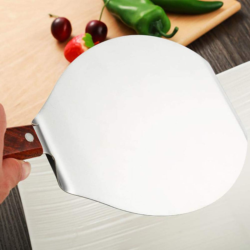 NUOMI Stainless Steel Pizza Peel with Wood Handle 8-Inch Pizza Paddle