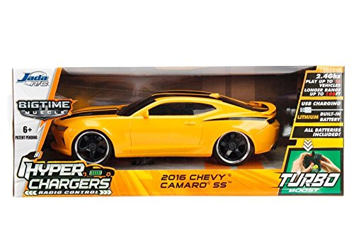 Australia Jada 98728 Toys Hyperchargers 1: 16 Big Time Muscle R/C '16 Chevy Camaro Ss Vehicle, 1/16 Scale, Yellow With Black Stripes