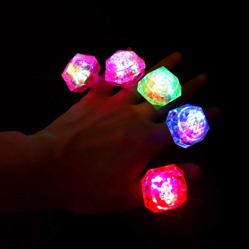 Australia Leobee Flashing Led Light up Rings Toys, Colorful Blinking Bumpy Rings for Birthday Bachelorette Bridal Shower Gatsby Party Favors, Clear Case 12 Pack