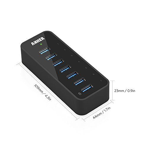 Anker 7-Port USB 3.0 Data Hub with 36W Adapter & BC 1.2 Charging Port