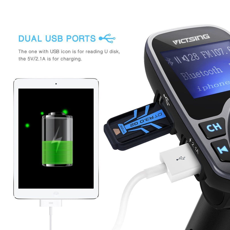 VicTsing Bluetooth FM Transmitter for Car, Wireless Radio Transmitter