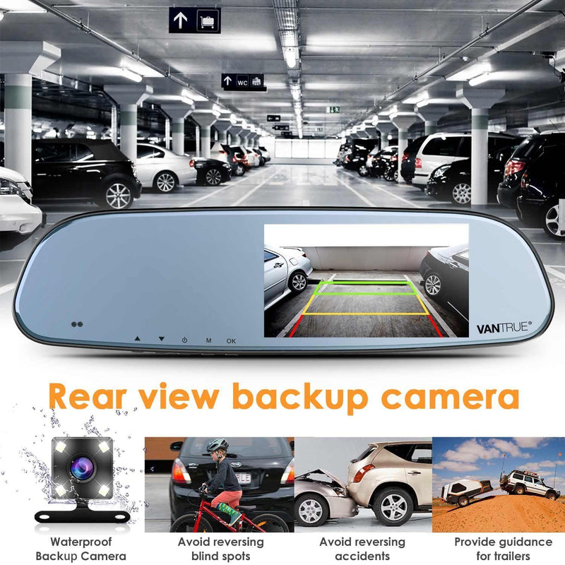 Vantrue N3 Dash Cam Backup Camera and 5'' IPS Touch Screen