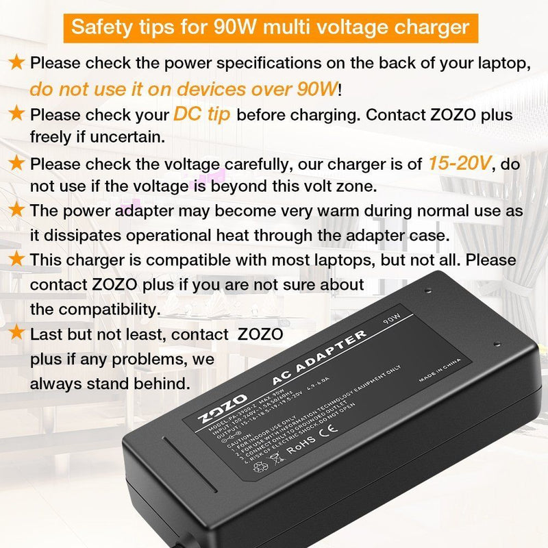 ZOZO 90W AC Laptop Charger Automatic Voltage 15-20V Power