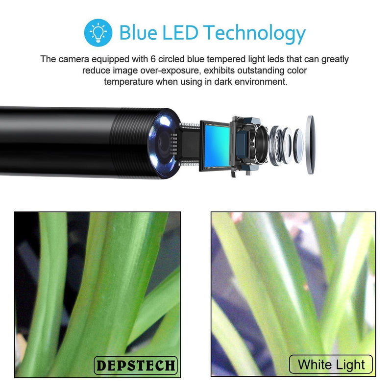Depstech WiFi Wireless Endoscope Borescope Inspection Camera 2.0 MP HD