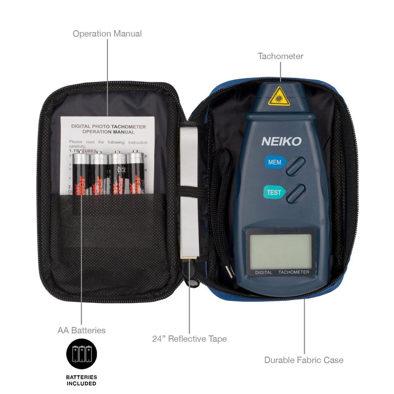 Neiko 20713A Digital Tachometer, Non-contact Laser Photo