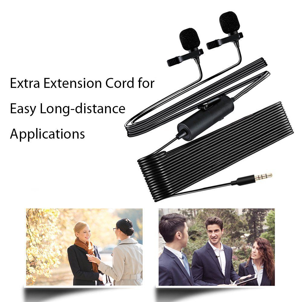 Hands Free Clip-on Lapel Mic with Omni... MAONO AU200 Dual Lavalier Microphones