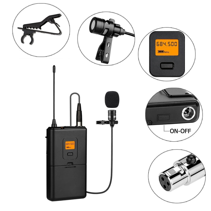 Fifine Wireless Microphone, Lavalier Clip-on Unidirectional