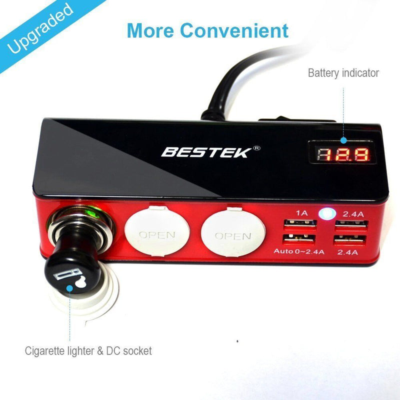 BESTEK 3-Socket 200W 12V/24V DC Cigarette Lighter Power Adapter