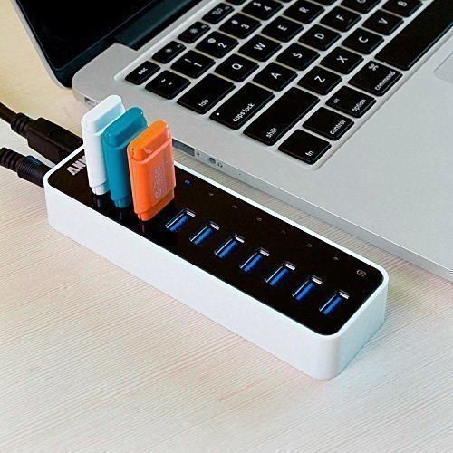 Anker 10-Port USB 3.0 Hub with Charging Port, 60W 12V/5A Power Adapter