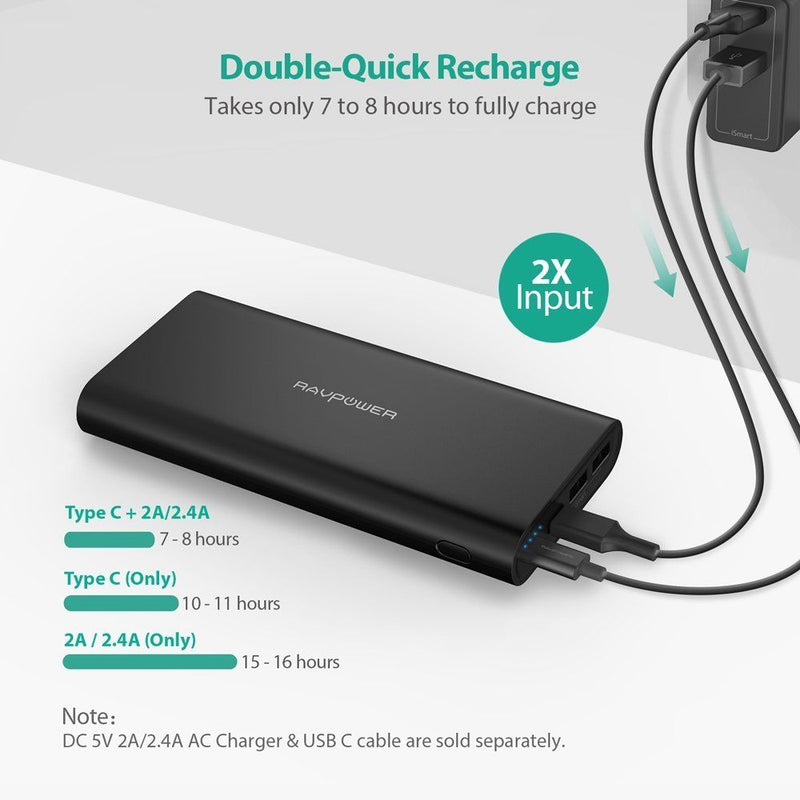 RAVPower 26800mAh USB C Portable Charger Dual Input 5V/3A Type-C Port