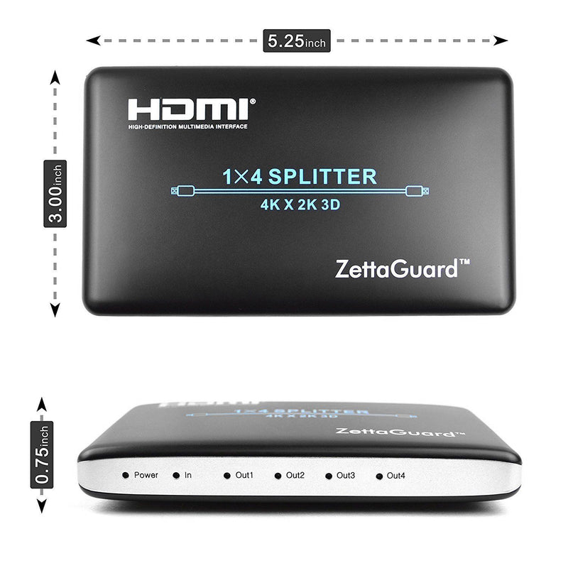 Zettaguard 1 x 4 HDMI Splitter 1 Input 4 Output Digital 1X4 Splitters