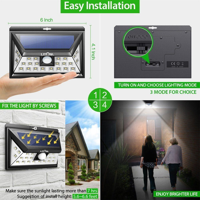 4 PACK of Litom 24 LED SOLAR LIGHTS OUTDOOR, Super Bright Motion Sensor Lights