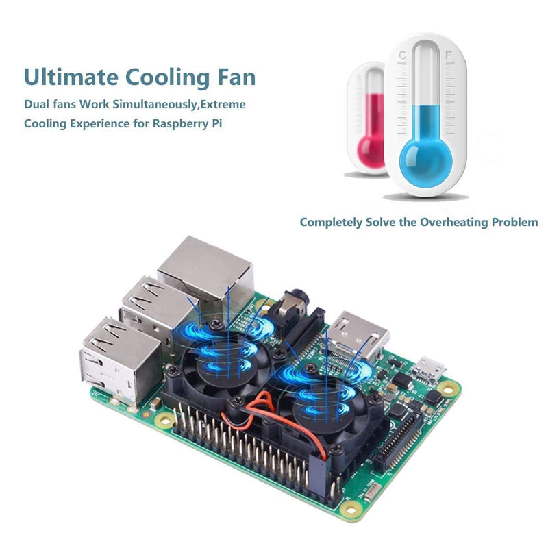 Australia iUniker Raspberry Pi 3 B+ Dual Fan with Raspberry Pi Heatsink, Raspberry Pi Fan for Raspberry Pi 3B+/Pi 3 B/Pi 2 B