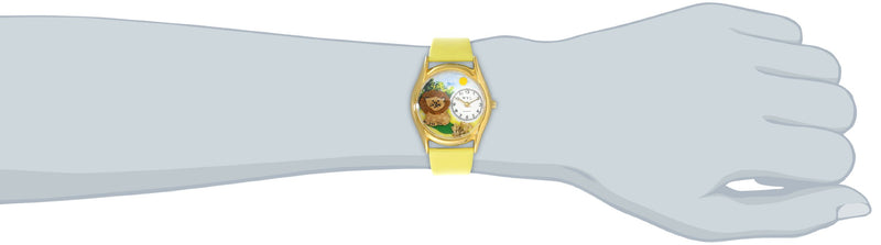 Australia Whimsical Watches Kids' C0150003 Classic Gold Lion Yellow Leather And Goldtone Watch