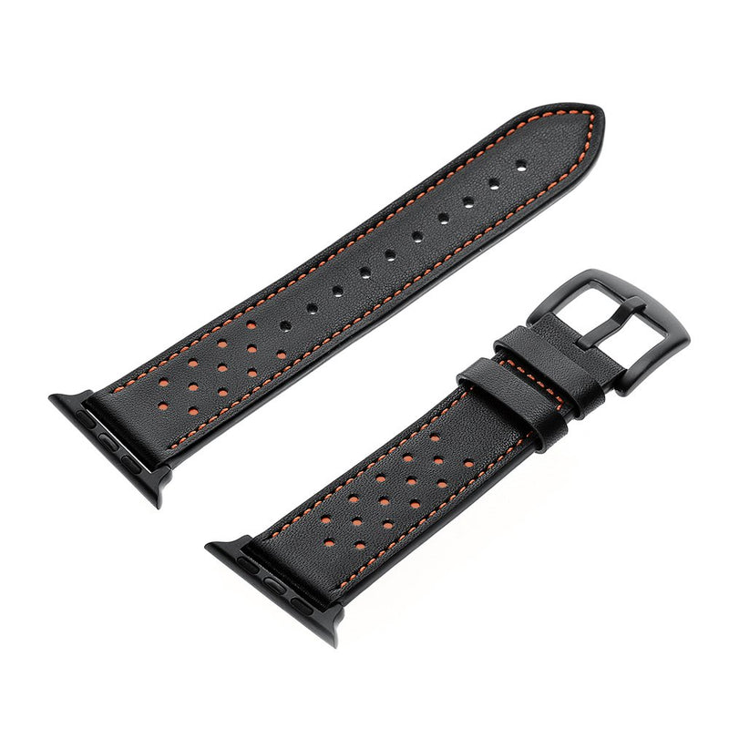 Leather Watch Band Compatible with Apple Watch 4 40mm iwatch Bands Leather Replacement Straps for Series 4 1 2 3 Edition Classic Buckle Classic Dressy Black Stainless Steel Adapters (40mm/38mm Black)