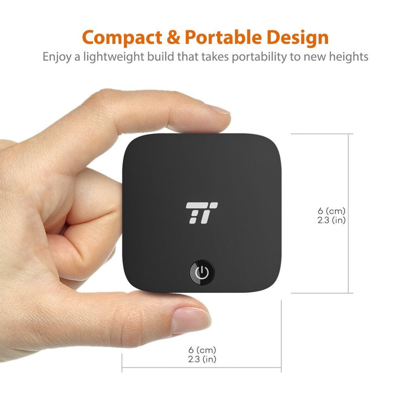 TaoTronics Bluetooth Transmitter and Receiver, Digital Optical TOSLINK and 3.5mm Wireless Audio Adapter for TV / Home Stereo System - aptX Low Latency
