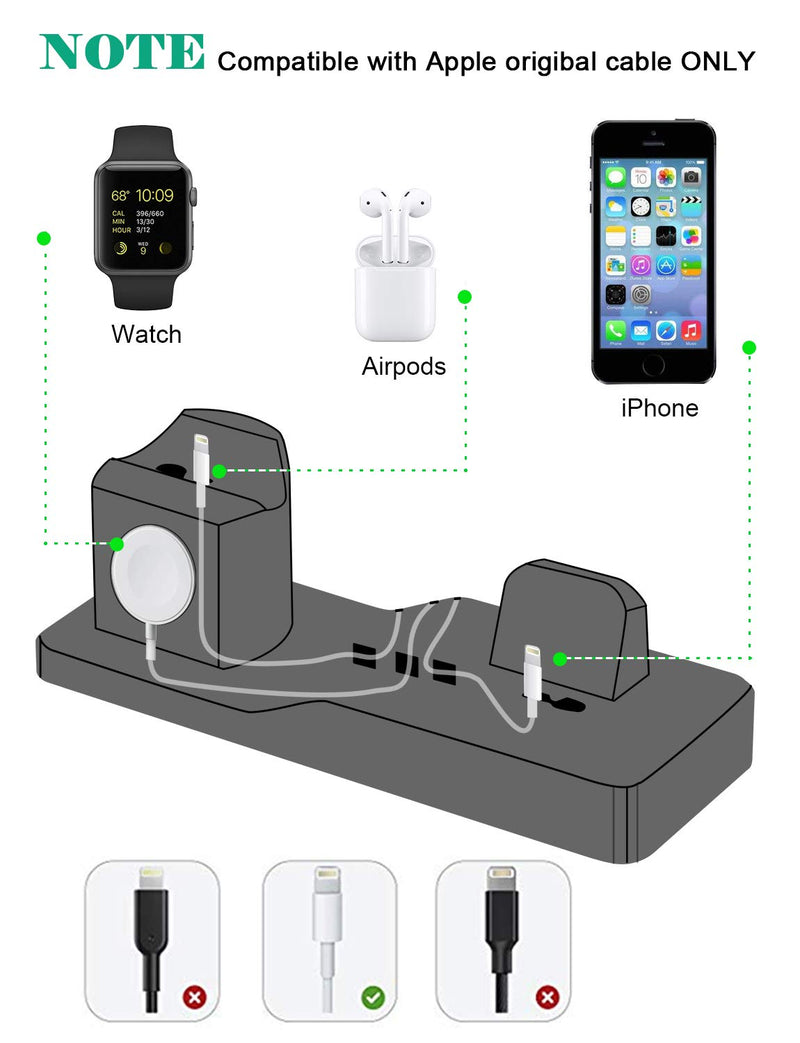 Charging Stand for Apple Watch, Tendak 3 in 1 Silicone Charging Dock Station for AirPods, 38mm and 42mm Apple Watch Series 1/2/3, iPhone X/8/8 Plus/ 7/7 Plus /6s/5s
