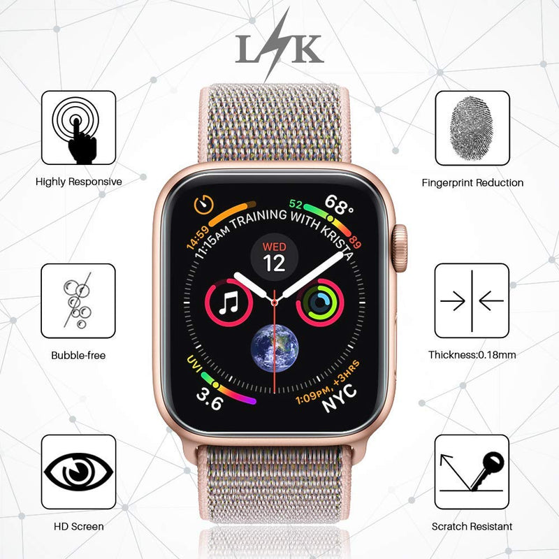 Australia LK [6 Pack] Screen Protector for Apple Watch 40mm / 38mm (Series 4/3/2/1 Compatible), LiquidSkin Max Coverage Screen Protector [HD Clear Anti-Bubble Film] with Lifetime Replacement Warranty
