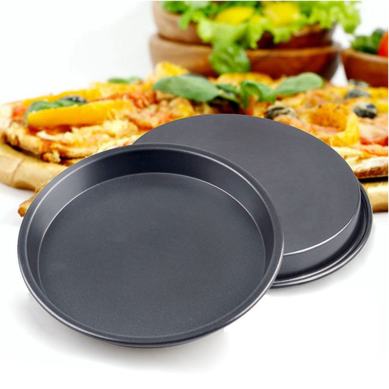 Australia Kslong 2pcs Kitchen Metal Pizza Plate Round Bake model Pizza Shop Diy Baking Tools Non-stick Cake Chassis Bakeware Pans(8inch)