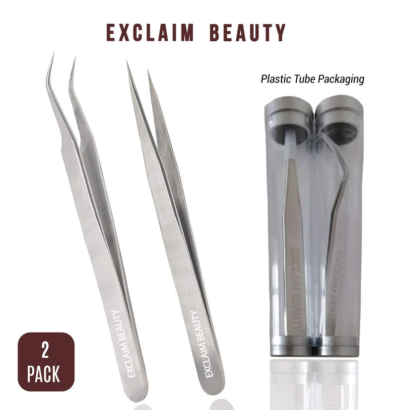 Exclaim Beauty Eyelash Extension Tweezers Straight and Curved Tip Stainless Steel Tweezers For Eyelash Extensions, Eyelash Tweezers For Extensions, Eyelash Tweezers Set 2 Pack