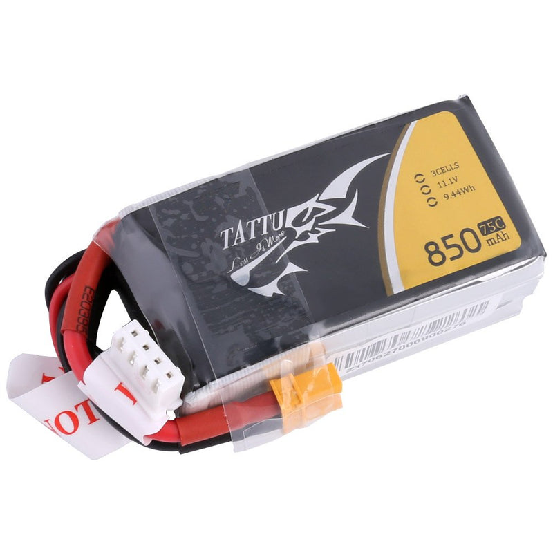 Australia TATTU 11.1V 3S 850mAh 75C LiPo Battery Pack with XT30 Plug for 150mm to 180mm Size Micro FPV Racing Quadcopters