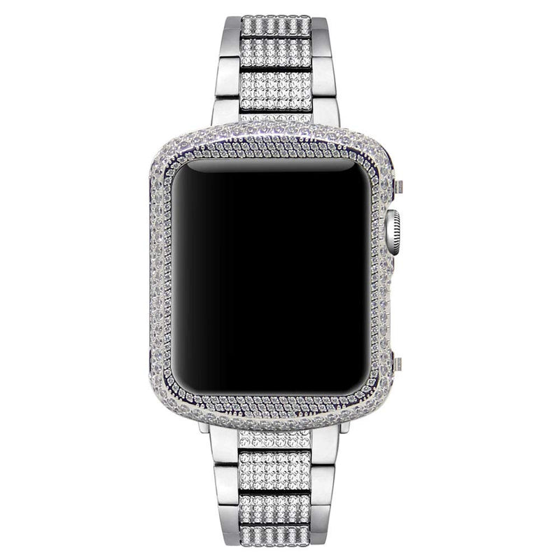 Australia Hiseanllo Protective Bezel for Apple Watch Case 38mm iWatch Bumper Crystal Rhinestone Inlaid Arc Cover Compatible with Apple Watch Series 1/2/3 Non-Ceramic Edition (Silver, 38mm) Silver 38mm Non-Ceramic Edition
