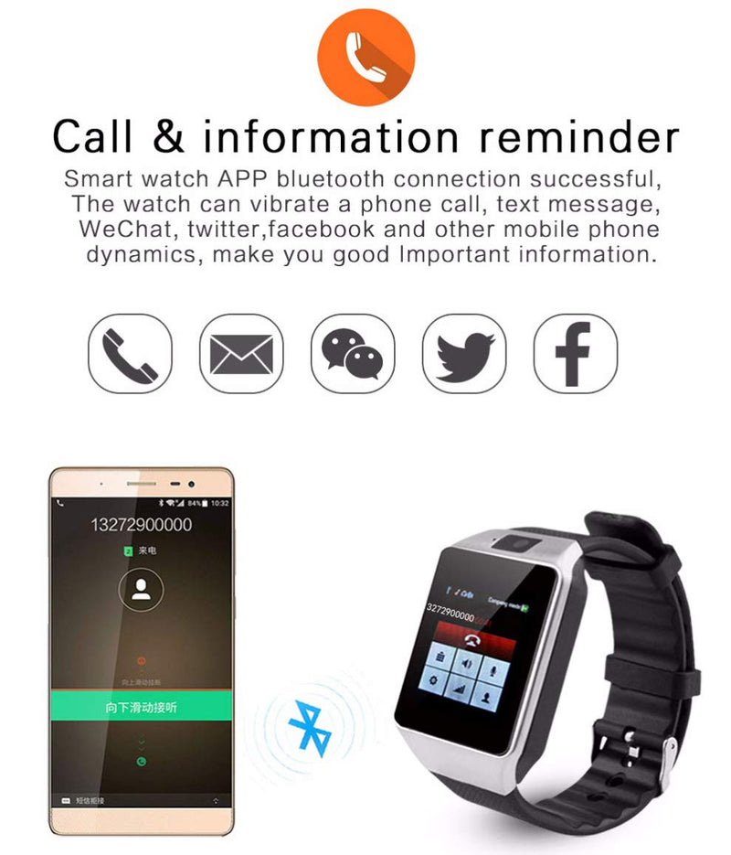 DZ09 Smart Watch Bluetooth Smartwatch Support SIM TF Card with Camera Message Notification for Android iOS iPhone Samsung LG Phones for Men Women Kids (Black)