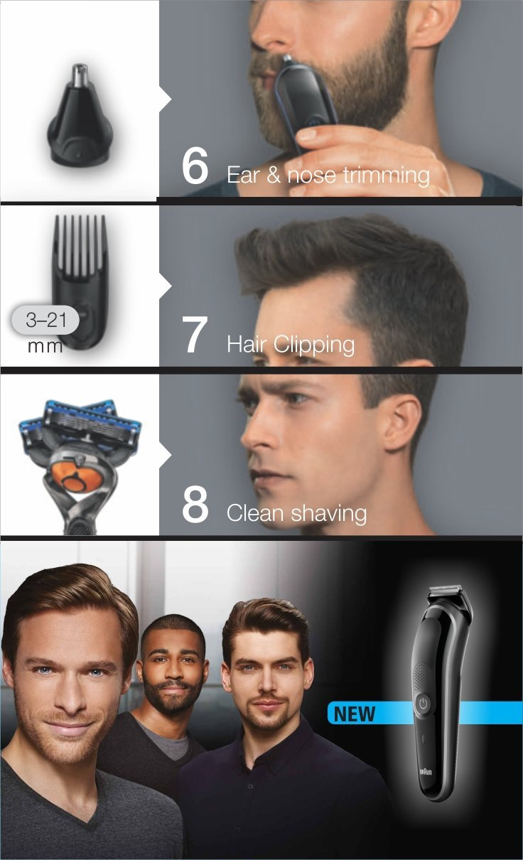 Australia Braun MGK3060 Men's Beard Trimmer for Hair / Head Trimming, Grooming Kit with 4 Combs & Gillette Fusion Razor, 13 Length Settings for Ultimate Precision