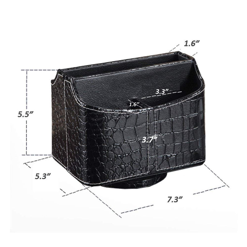 UnionBasic PU Leather Crocodile Pattern 360 Degrees Rotatable Remote Control/Controller Organizer, Spinning TV Guide/Mail/Media Desktop Organizer Caddy Holder (Crocodile Black)