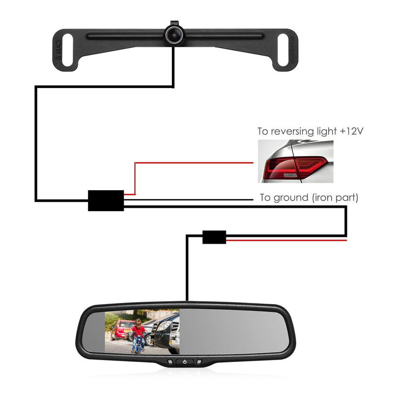 Australia AUTO-VOX Cam 6 Rear Reverse Backup Camera License Plate Parking Rearview System of 170-Degree Wide Angle for Cars Truck & RV with Waterproof Night Vision