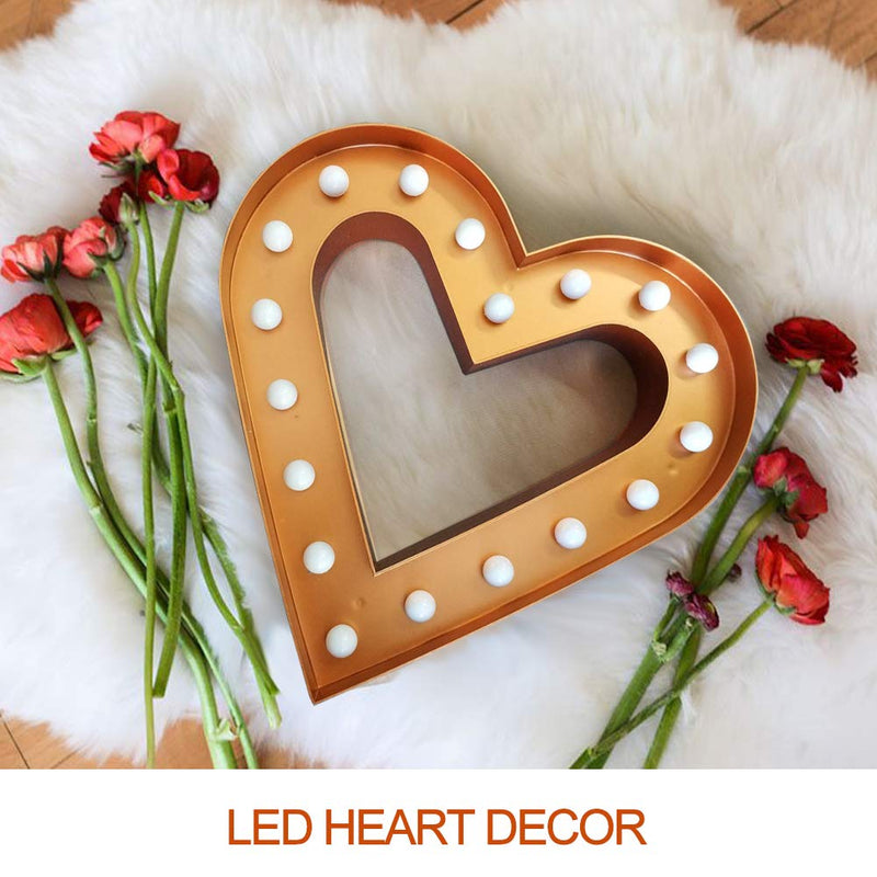 "Australia Bright Zeal 12.5"" Large Romantic LED Heart Marquee Sign (Bronze, 6hr Timer) - Love Signs Wall Decor for Living Room Heart Decorations for Party - Heart Lights Battery Operated Decorative Signs Decor"