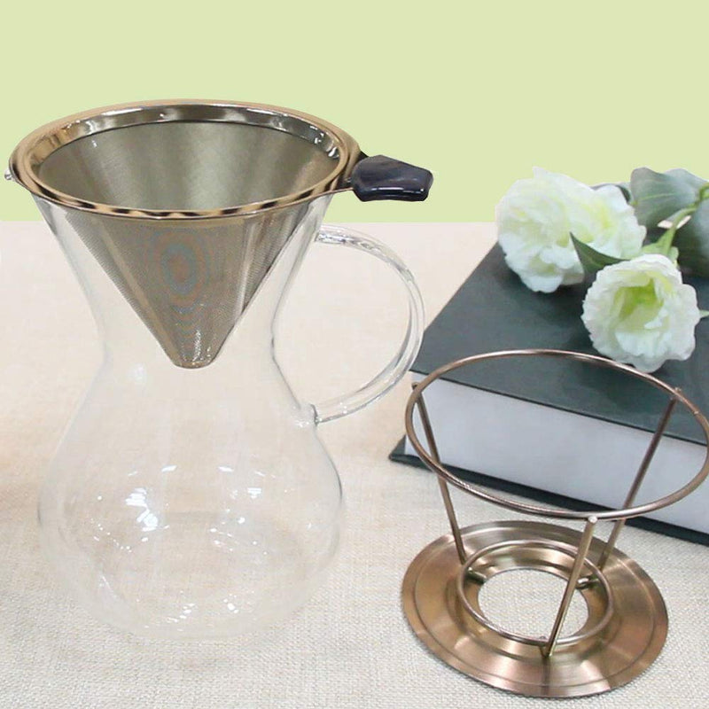 Sivaphe Coffee Cone Filter Reusable Coated Gold Mesh Pour Over Coffee Dripper Paperless&Ecofriendly SUS304 Stainless Steel