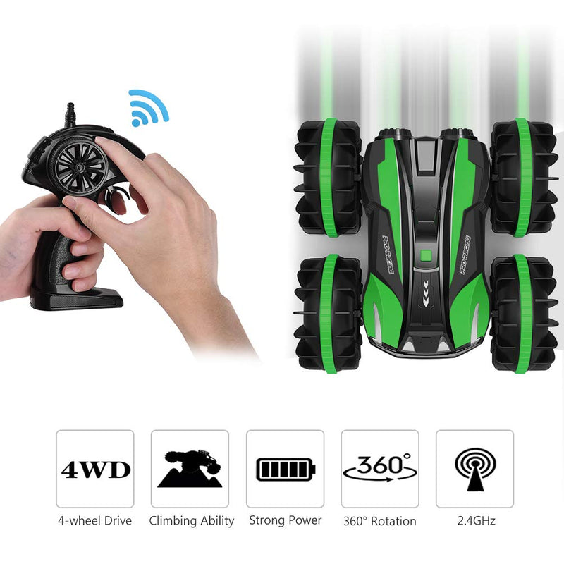 Australia allcaca Waterproof Remote Control Car Boat - 2.4Ghz All Terrain RC Cars Green