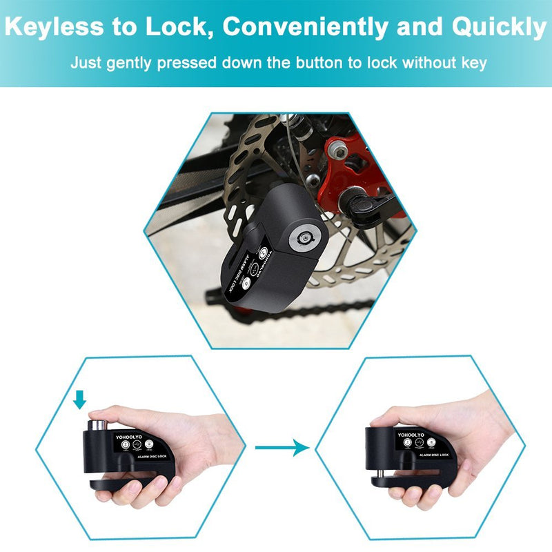 YOHOOLYO Disc Lock Alarm Motorcycle Alarm Padlock with 110db Alarm Sound for Motorcycles Bicycles - CocoonPower Australia