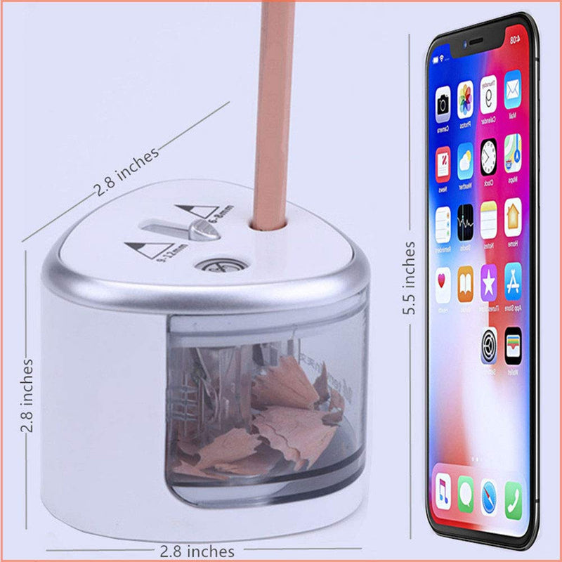 Battery Operated Pencil Sharpener and Double Hole Silver Electric Sharpener for School,Classroom,Home,Office,Battery Operated Pencil Sharpener for Kids, Teachers,Artists