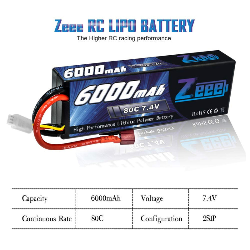 Australia Zeee 6000mAh 80C 2S 7.4V Rechargeable Hardcase Lipo Battery Pack with Deans Connector for 1:8 Scale RC Car, RC Airplane, RC Helicopter, RC Boat (2 Pack)