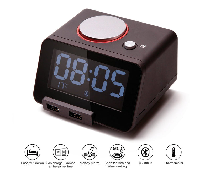 Australia [Upgraded Version] Homtime C1 Pro Alarm Clock for Bedrooms with Bluetooth Speaker, 2-Port Universal USB Charger, Large Dimmable LCD Screen, Thermometer, Snooze, Warranty – Black