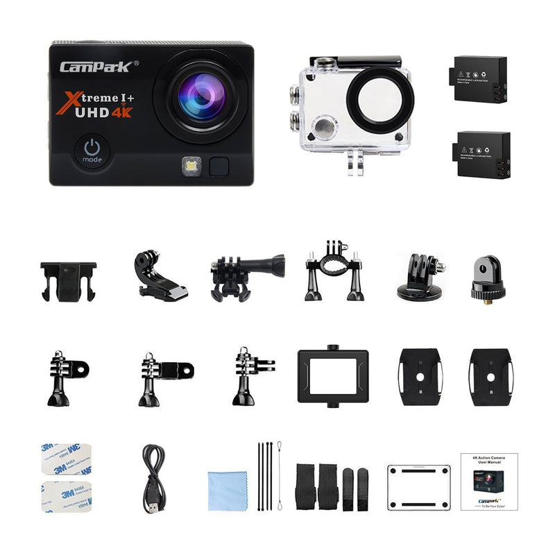 Australia Campark ACT74 Action Camera 16MP 4K WiFi Waterproof Sports Cam 170 Degree Ultra Wide-Angle Len with 2 Pcs Rechargeable Batteries and Mounting Accessories Kits