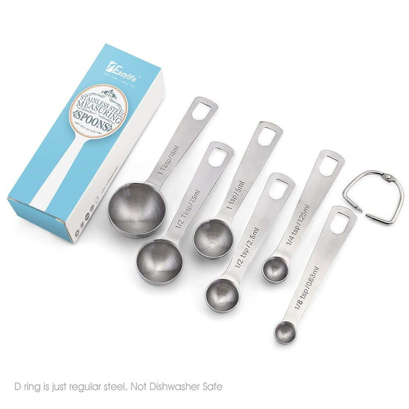 Australia 1Easylife 18/8 Stainless Steel Measuring Spoons, Set of 6 for Measuring Dry and Liquid Ingredients
