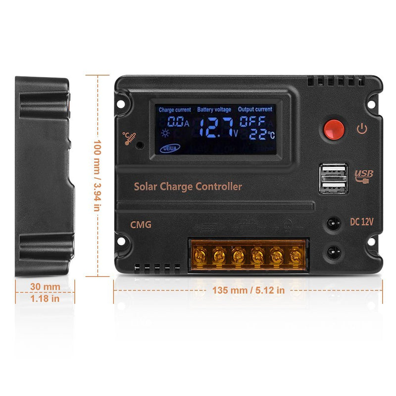 GHB 20A 12V 24V Solar Charge Controller Auto Switch LCD Intelligent Panel Battery Regulator Charge Controller Overload Protection Temperature Compensation - CocoonPower Australia