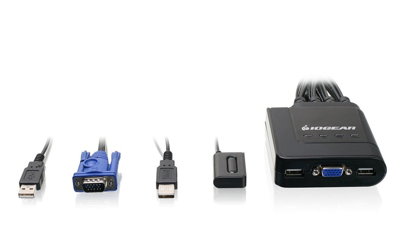 IOGEAR 4-Port USB VGA Cable KVM Switch with Cables and Remote, GCS24U