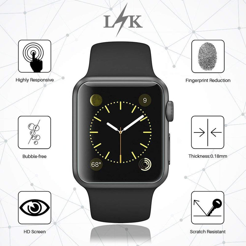 Australia LK [6 Pack] Screen Protector for Apple Watch (42mm Series 3/2/1 44mm Series 4 Compatible), Liquid Skin [Max Coverage] [Anti-Bubble] HD Clear with Lifetime Replacement Warranty