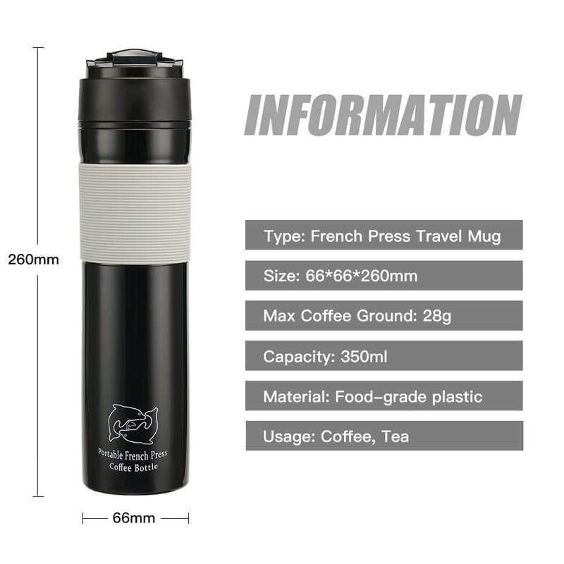 Australia MG Coffee Plastic Portable Travel French Press Plunger Coffee and Tea Mug for Outside Camping Use 12oz,Black