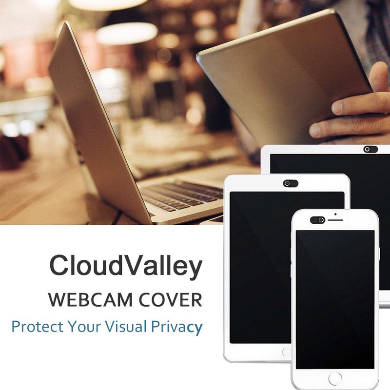 Australia CloudValley Webcam Cover Slide W3, [5-Pack] 0.6mm-Thin Metal Web Camera Cover Sticker for MacBook Pro, Laptop, iMac, iPad Pro, PC, Surfcase Pro, iPhone 8/7/6 Plus, Privacy Cover[Black]