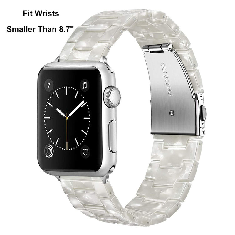 TRUMiRR Watchband Compatible for 38mm 40mm Apple Watch Women, Fashion Resin Watchband Metal Stainless Steel Buckle Strap Bracelet for iWatch Apple Watch Series 4 3 2 1 All Models