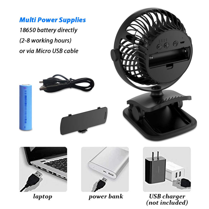 Mini desktop personal fan Clip-on stroller fan battery-powered portable desktop fan with rechargeable 2200mAH battery and USB cable automatic 3-speed 720/° up and down home and office Strong wind in th